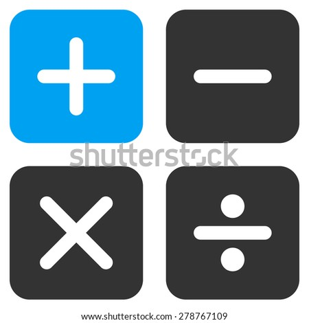Calculator icon from Business Bicolor Set. This isolated flat symbol uses modern corporation light blue and gray colors.