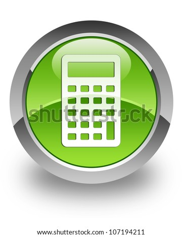 Calculator icon on glossy green round button - stock photo