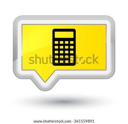 Calculator icon yellow banner button - stock photo