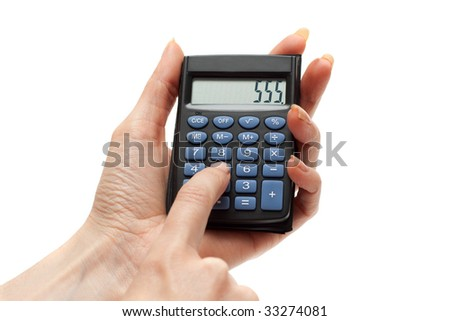 Calculator in feminine hand, on screen 555