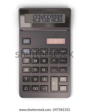 Calculator isolated on white background. 3d render image. Calculator close-up. - stock photo