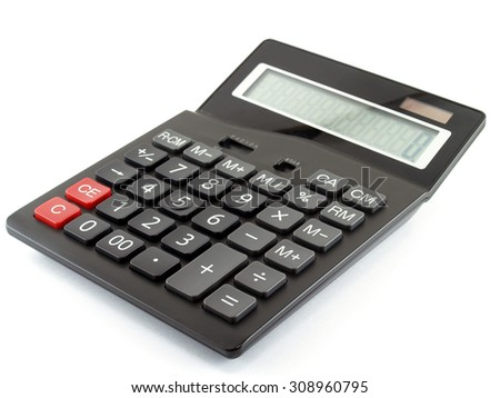 calculator isolated on white background, device for calculating the numbers