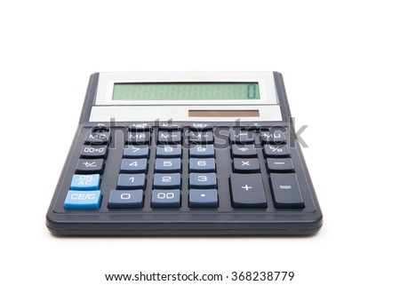 calculator isolated on white background, device for calculating the numbers - stock photo