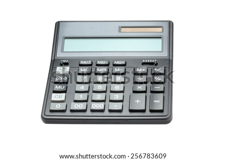 Calculator isolated on white with clipping path - stock photo