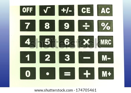 calculator key closeup