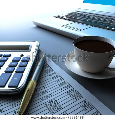 Calculator, laptop and pen with financial documents. - stock photo