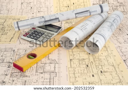 Calculator, level and project drawings