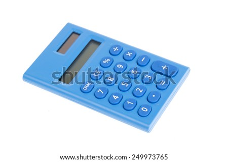 Calculator made from blue plastic isolated on white background - stock photo