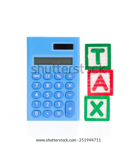 Calculator made from blue plastic with Tax block isolated on white background - stock photo