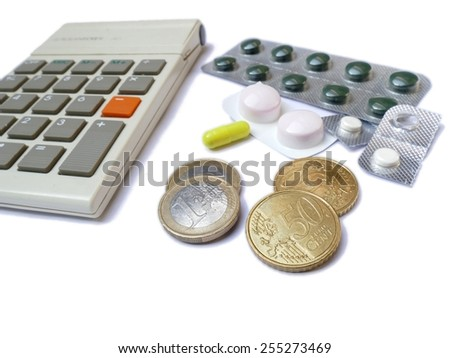 Calculator, medicines and euro money coins isolated on white