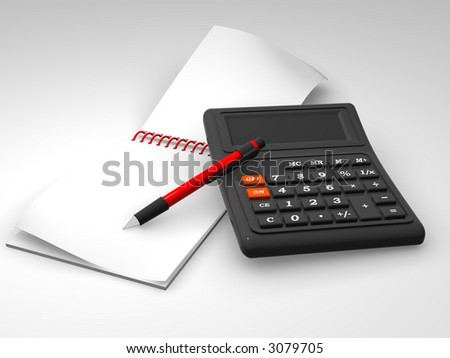 calculator, notebook and the pen. 3d