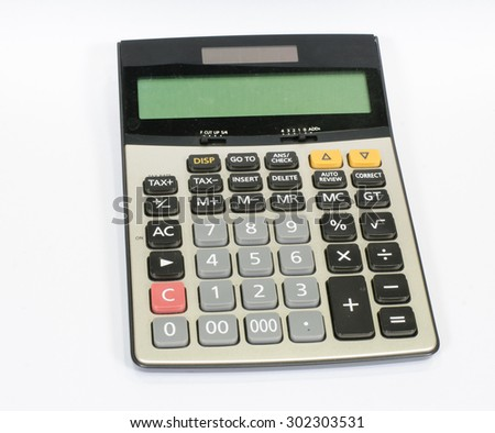Calculator on a White Background. - stock photo