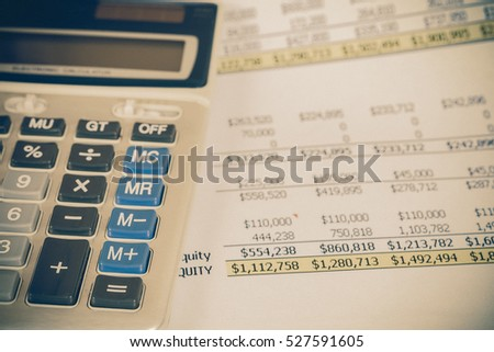 calculator on Analysis Business Accounting with vintage tone