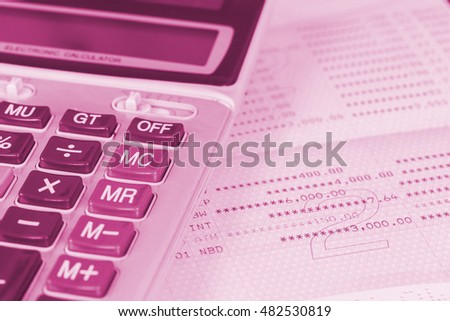 calculator on book bank ,tone color