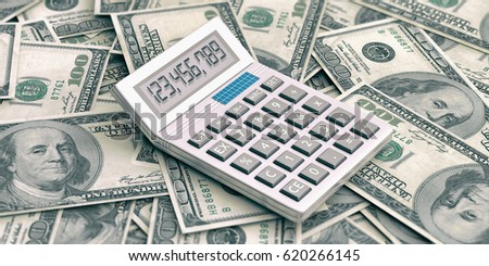 Calculator on 100 dollars banknotes background. 3d illustration