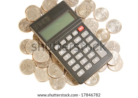 Calculator on top of quarter coins - stock photo