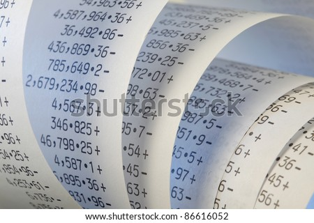 Calculator paper tape rolled up