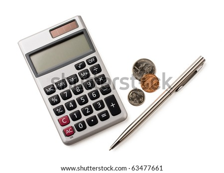 Calculator, pen and coins isolated on white. - stock photo