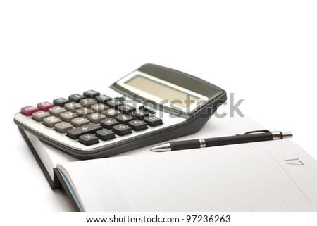 calculator, pen and diary - stock photo