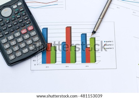 Calculator,pen and graph .The concept to business planning.