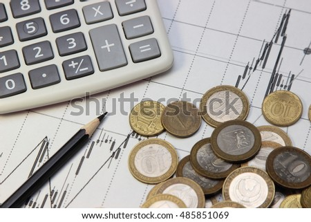calculator, pencil and coins. Dow Jones index. currency rates on Forex