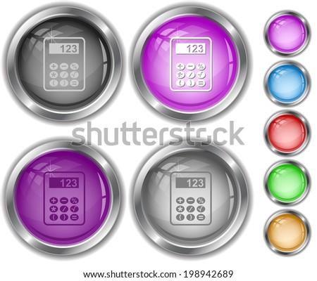 Calculator. Raster internet buttons.  - stock photo