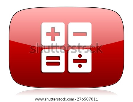 calculator red glossy web icon  - stock photo