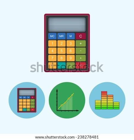 Calculator . Set from 3 round colorful icons, calculator, indicator icon, diagram icon, info graphics, chart icon - stock photo