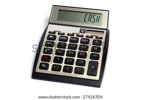 Calculator shows cash word - stock photo