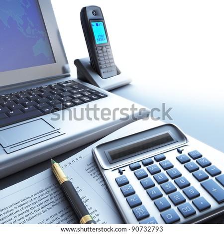 Calculator, telephone, computer. - stock photo