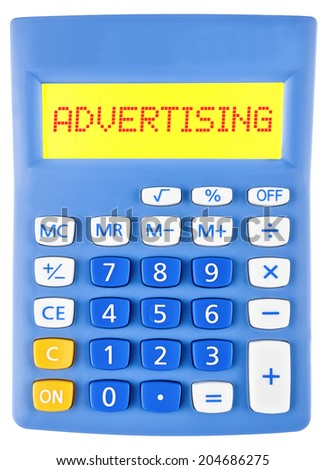 Calculator with ADVERTISING on display isolated on white background