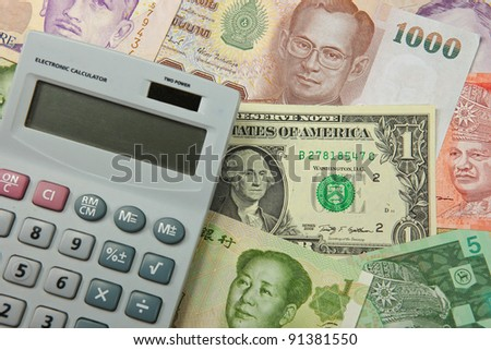Calculator With  Bank Notes