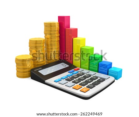Calculator with Bar Graph and Coins - stock photo