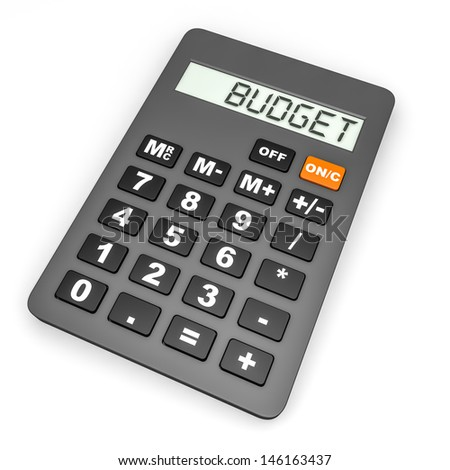 calculator budget on display on white stock illustration 146163437
