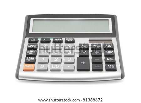 Calculator with clipping path - stock photo