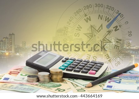 Calculator with coin ,pencil on money banknotes Euro and Dollars,concept of business planning and finance and savings  - stock photo