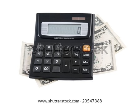Calculator with dollar bank notes