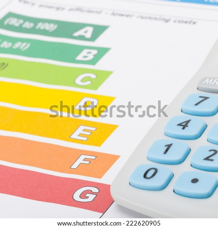 Calculator with energy chart - 1 to 1 ratio - stock photo