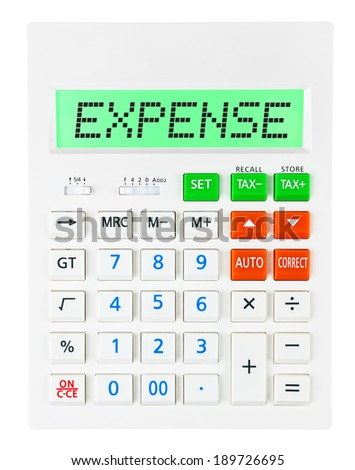 Calculator with EXPENSE on display on white background - stock photo