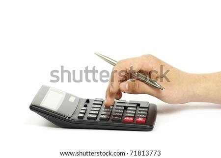 calculator with hand - stock photo