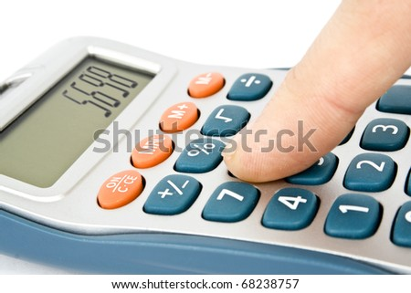 calculator with hand isolated on white - stock photo