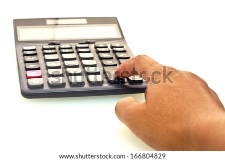 Calculator with hand on white background