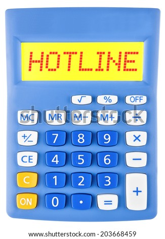 Calculator with HOTLINE on display isolated on white background - stock photo