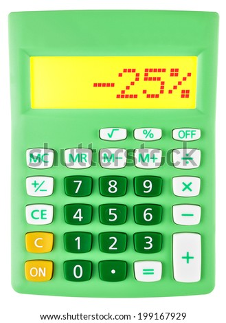 Calculator with -25% on display on white background