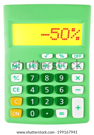 Calculator with -50% on display on white background
