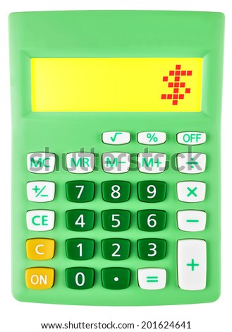 Calculator with $ on display on white background
