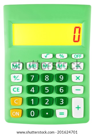 Calculator with 0 on display on white background