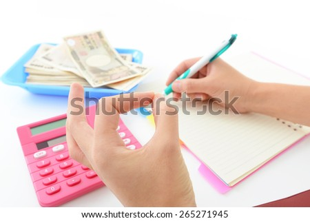Calculator with paper money