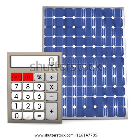 Calculator with solar panel on the white background. - stock photo