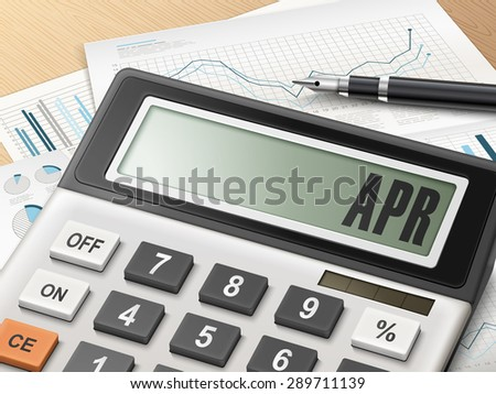 calculator with the word APR on the display - stock photo